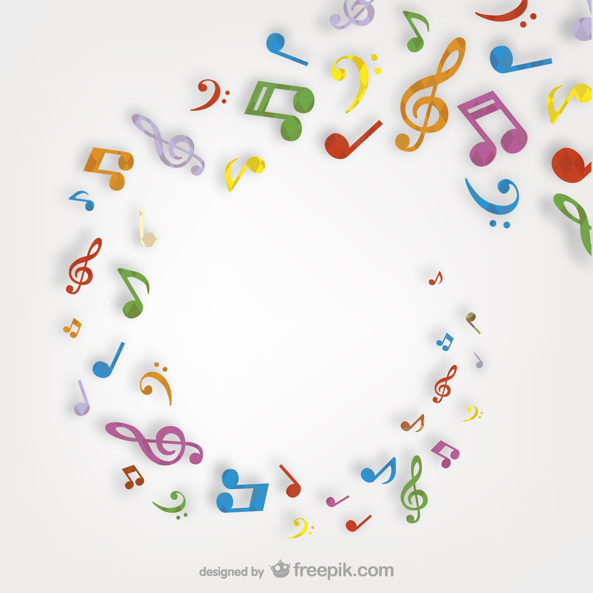 Colorful musical notes swirl