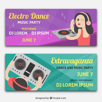 Colorful musical party banners