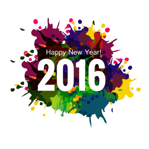 Colorful new year 2016 greeting card
