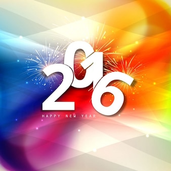 Colorful new year 2016 greeting