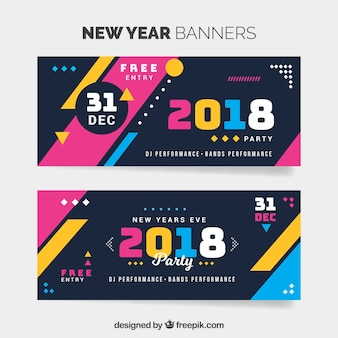 Colorful new year 2018 banners