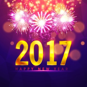 Colorful new year background with fireworks and bokeh effect