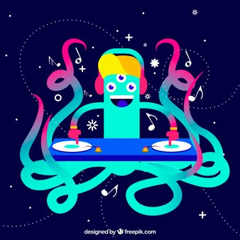 Colorful octopus dj background