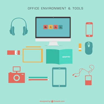 Colorful office environment and tools