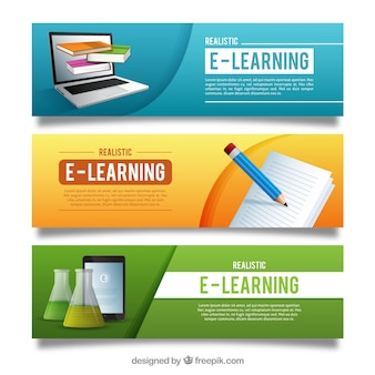 Colorful online education banners with realistic items