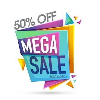 Colorful origami banner with mega sale