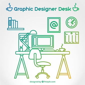 Colorful outlined graphic designer desk