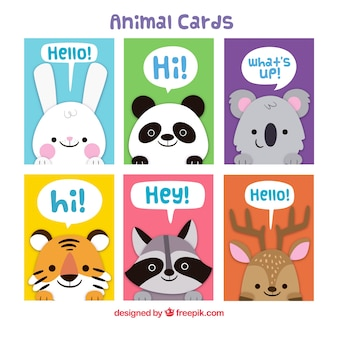 Colorful pack of cards with lovely animals