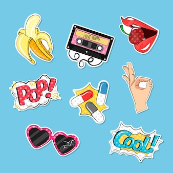 Colorful pack of comic stickers