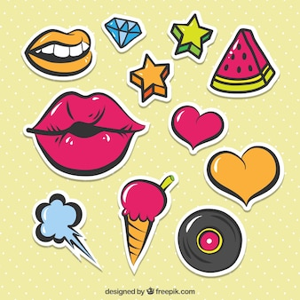 Colorful pack of cute stickers
