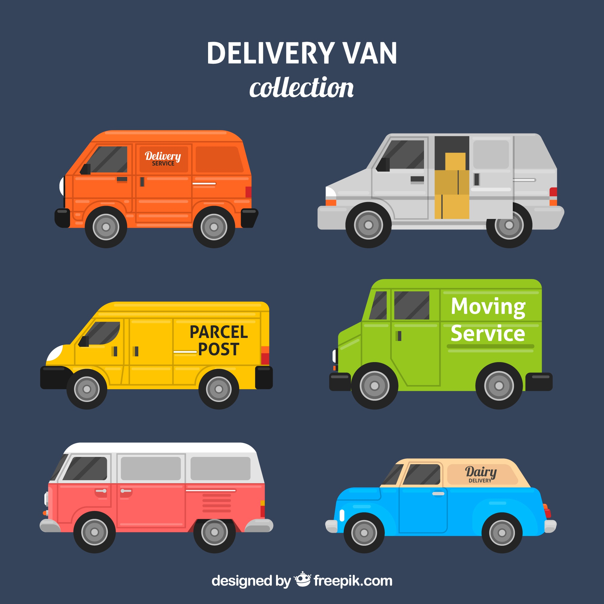 Colorful pack of delivery vans