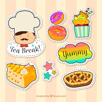 Colorful pack of desserts stickers