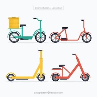 Colorful pack of electric scooters