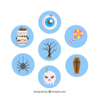 Colorful pack of flat halloween elements