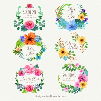 Colorful pack of floral wedding labels