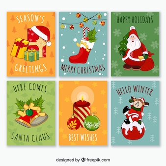 Colorful pack of fun christmas cards