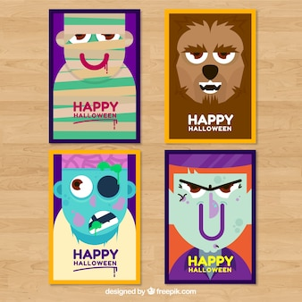 Colorful pack of halloween cards with monsters