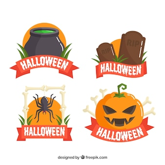 Colorful pack of halloween labels