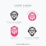 Colorful pack of lion logos