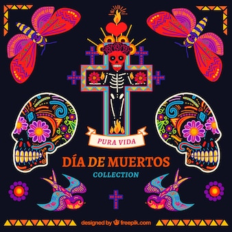 メキシコの要素のカラフルなパック