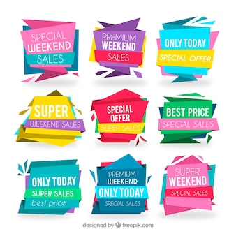 Colorful pack of modern sale labels