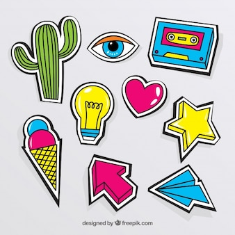 Colorful pack of modern stickers