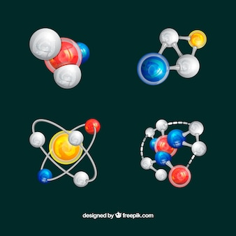 Colorful pack of molecules with modern style