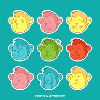 Colorful pack of monkey emoticons