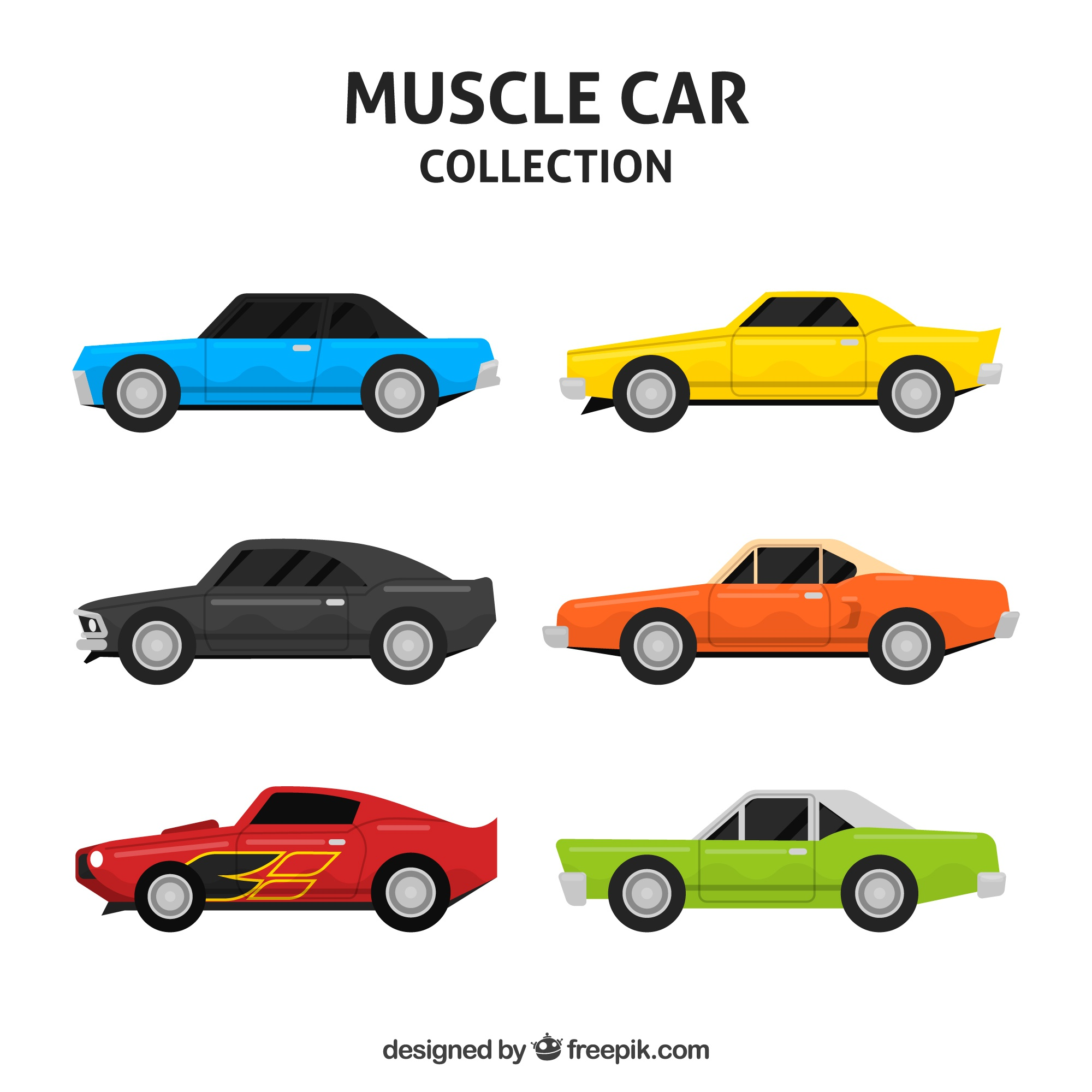 Colorful pack of powerful cars