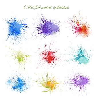 Colorful paint splashes collection