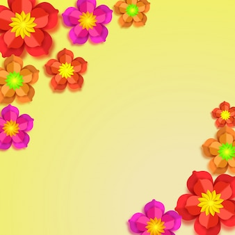 Colorful paper flowers on yellow background.