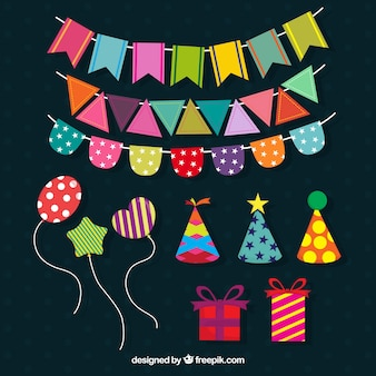 Colorful party elements in flat style