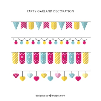 Colorful party garlands