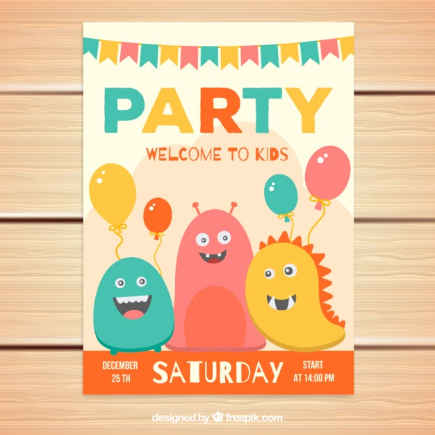 Colorful party invitation with smiling monsters