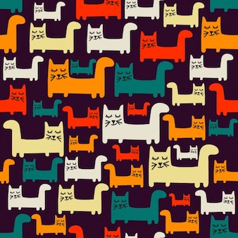 Colorful pattern with cats