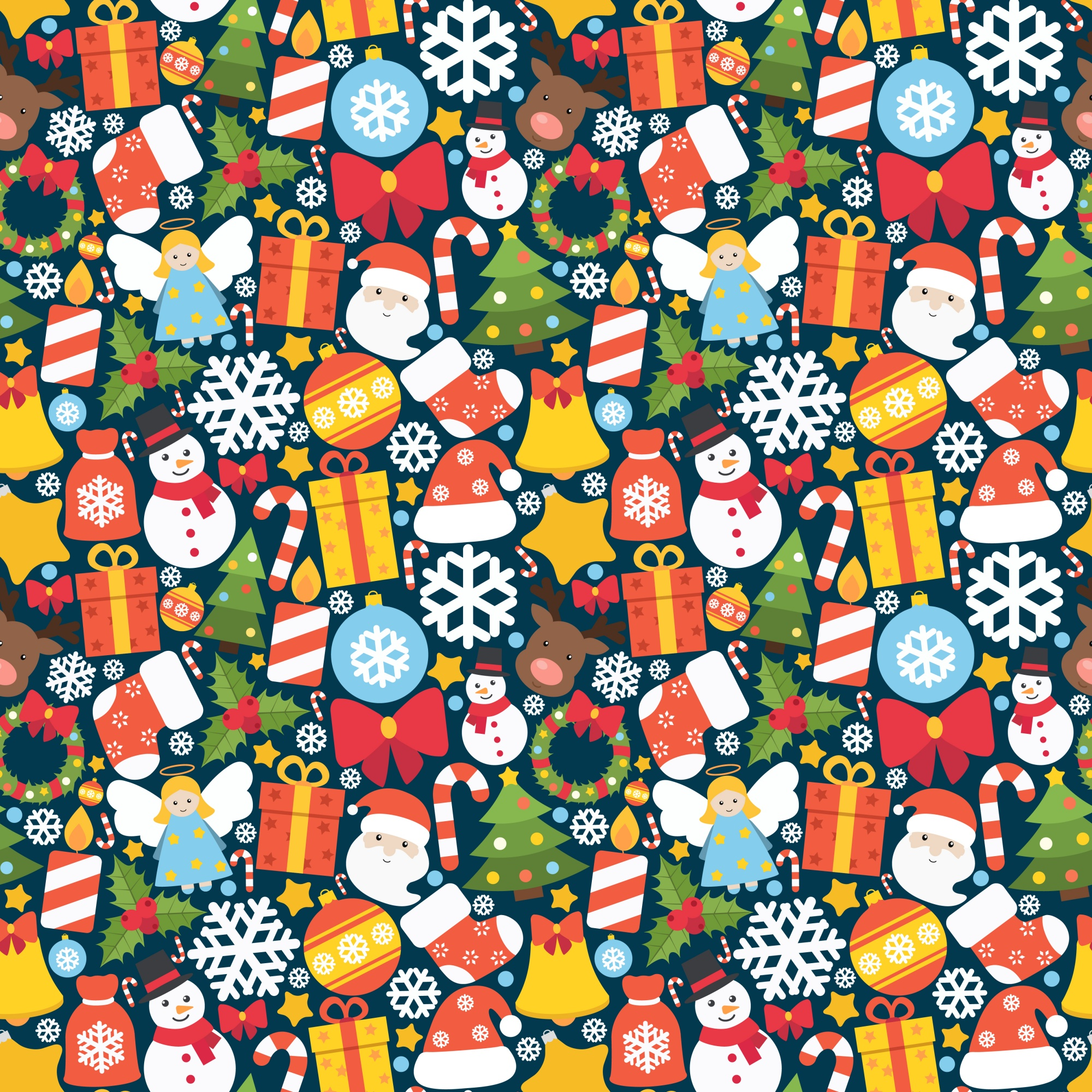 Colorful pattern with decorative christmas elements