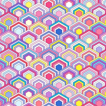 Colorful pattern with hexagonal elements