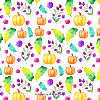 Colorful pattern with nice pumpkins