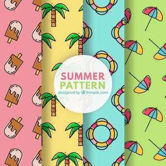 Colorful patterns of summer elements in linear style