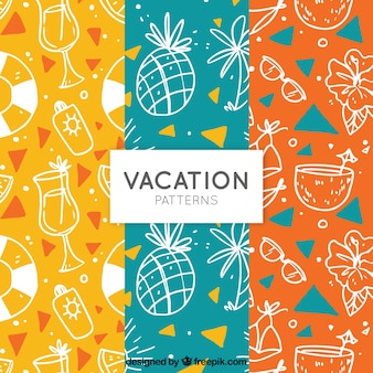 Colorful patterns with sketches of summer elements