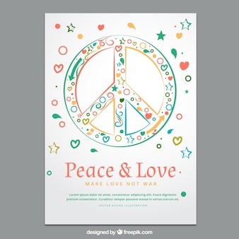 Colorful peace and love poster