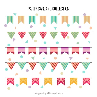 Colorful pennants in flat style