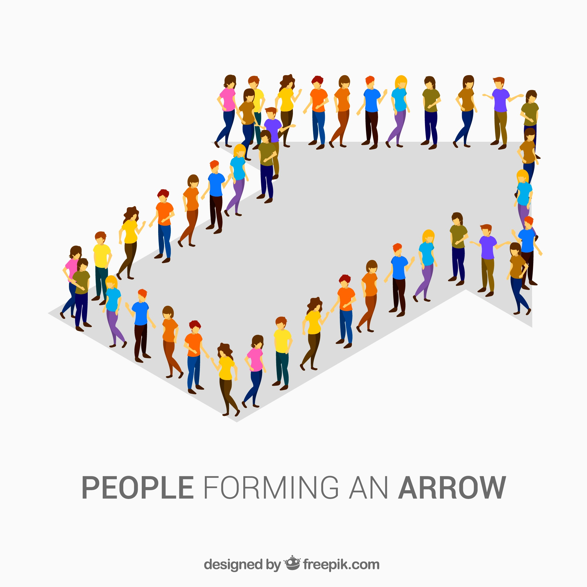Colorful people forming an arrow