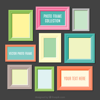 Colorful photo frames collection