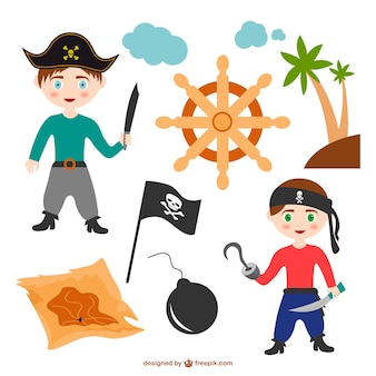 Colorful pirate kids and black flag