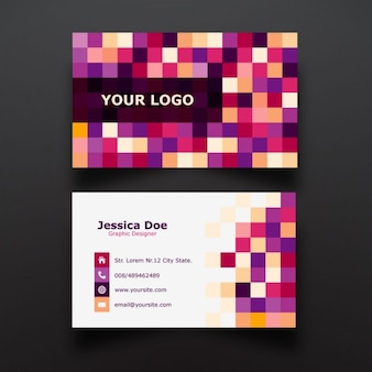 Colorful pixel business card design