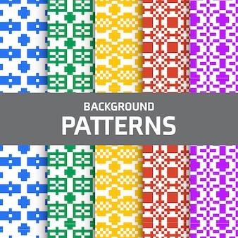 Colorful pixel patterns set