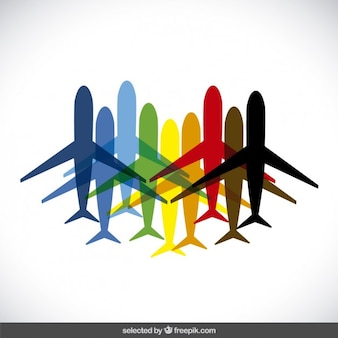 Colorful plane silhouettes