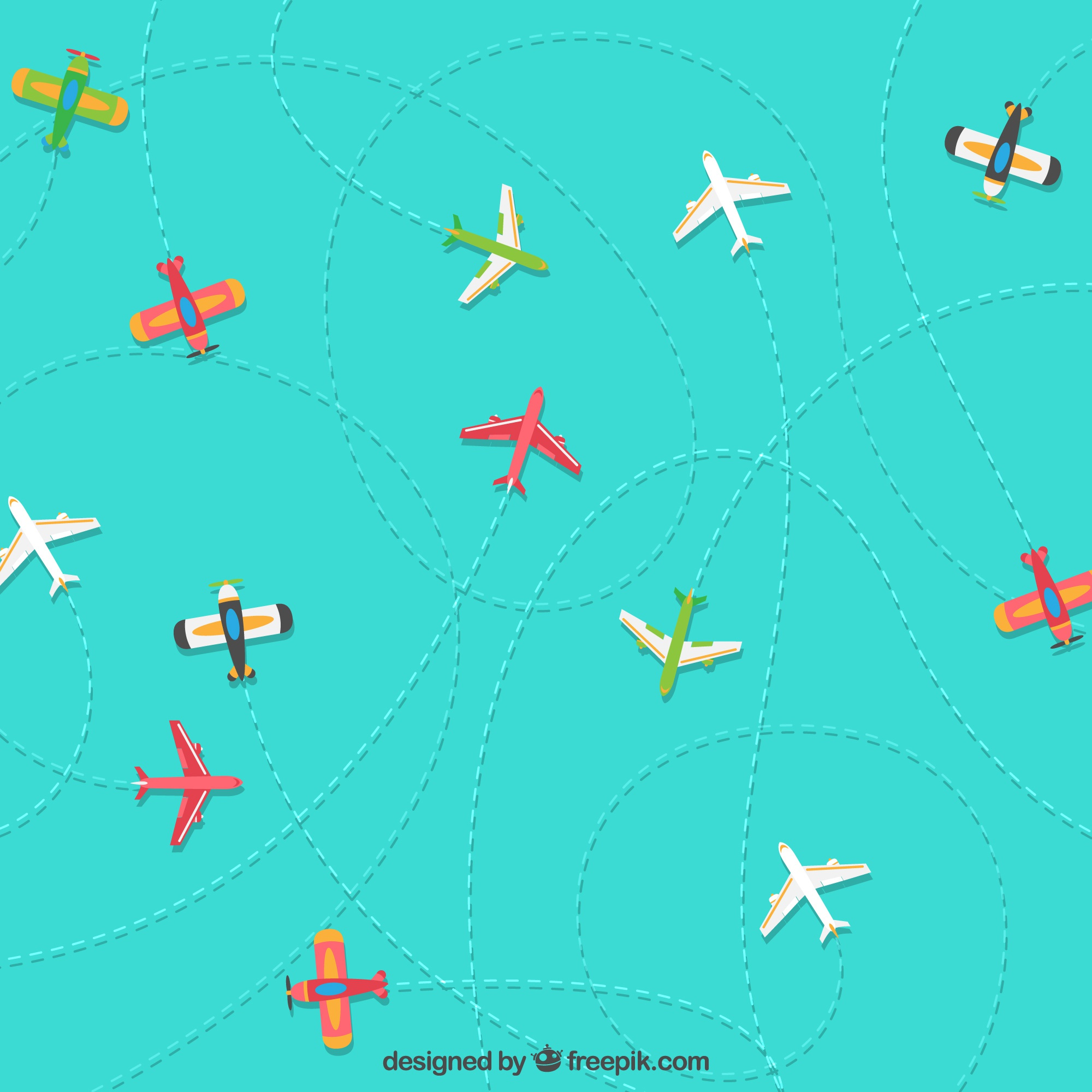 Colorful planes travelling background