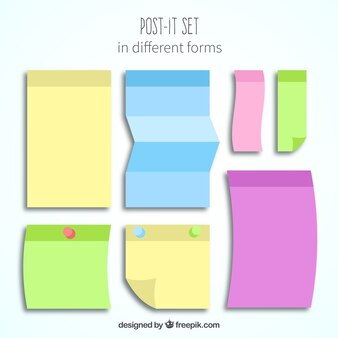 Colorful post-it set with different forms